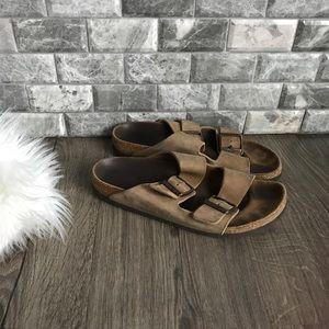 Birkenstock Arizona tan leather two strap sandal